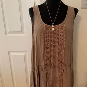 Cocoa colored Lace Inset Tank
